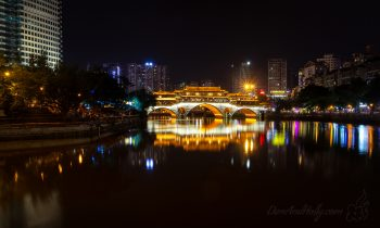 Chengdu's Anshun Lang Bridge at Night