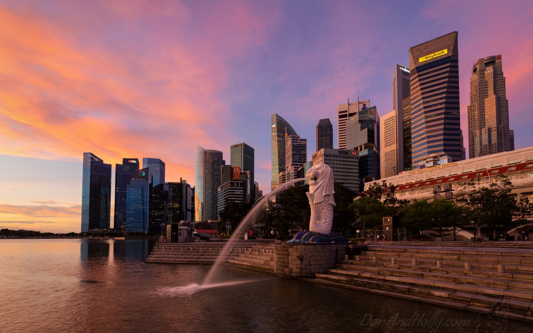 Sunrise with the Merlion